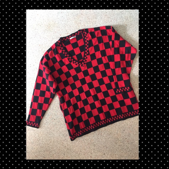 1980s Acrylic V Neck Checkerboard Sweater