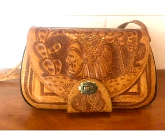 Vintage 1960s Tooled Leather Purse From Mexico
