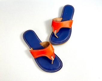 Ladies Leather Lilly Sandal From Key West Classic KINO - Blue on Orange Size 6 UF Gators