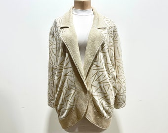 Vintage 80s Memphis Style Print Oversized Button Front Cardigan Sweater by Gallé