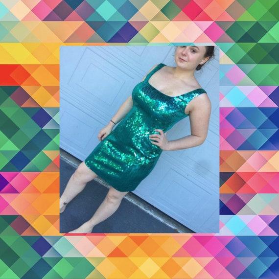 1980s Green Sequin Tank Dress