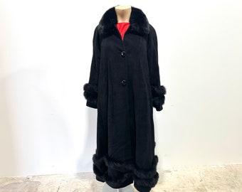 Vintage 1980s Womens Cashmere + Wool + Angora Long Coat by Talk of The Walk Atlantic City