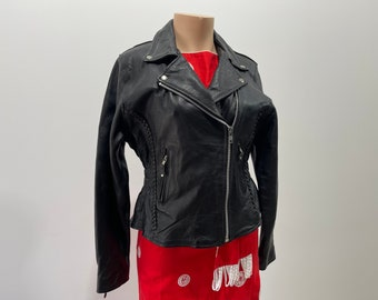 Vintage 90s Womens Leather Motorcycle Jacket
