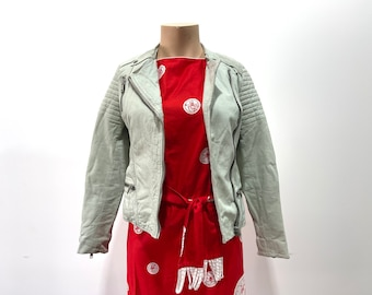 Vintage 90s Womens White Leather Motorcycle Jacket