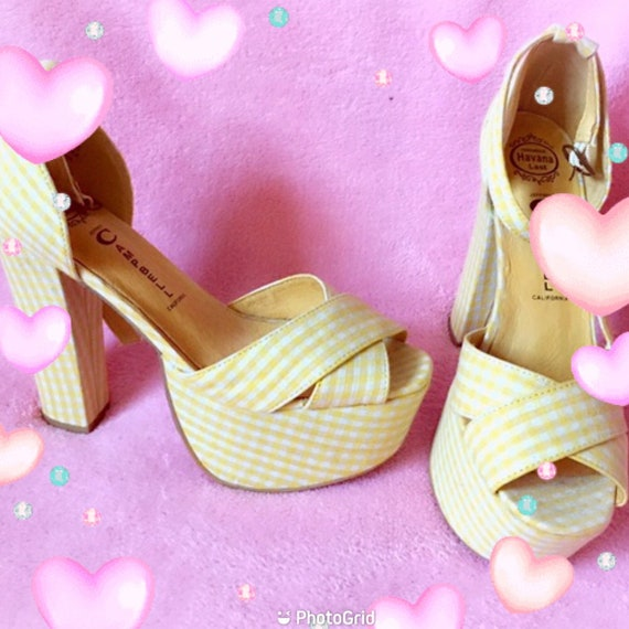 Authentic Jeffrey Campbell El Carmen Yellow Gingha