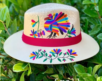 aea980f0cc5 Otomi hat/ Hand painted hat. Palm hat. Fedora hat. Decorated hat.