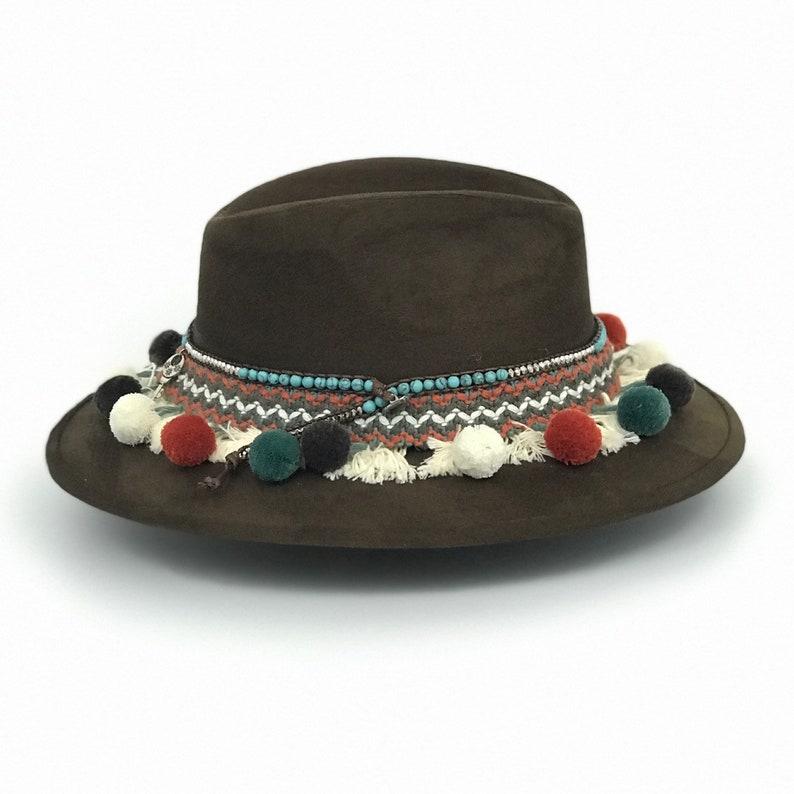 hat Fiesta Felt HatDecorated fedora hat Bohemian hat Woman hat Unique. Cowgirl hat Tribal hat