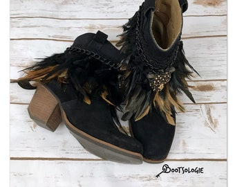 Decorated cowboy boot, reworked boot, festival boot, ankle boot, bootie, feather boot. Sierra boot.