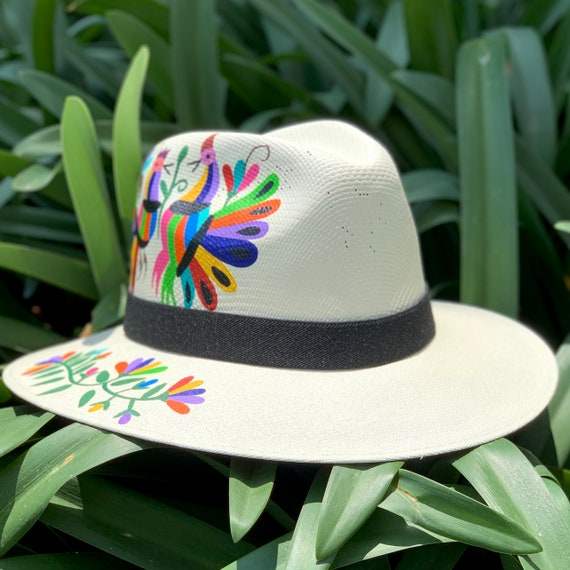 Fedora hat Unique hat Sun Hat Palm hat Decorated hat Otomi hat Hand painted hat Mexican Hat Panama Hat Womens Hat Beach hat.