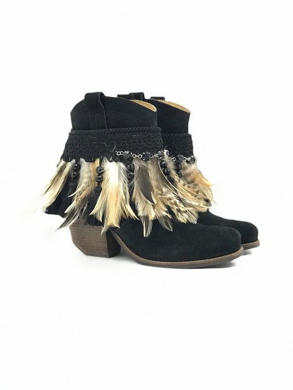 La Sierra/ Decorated cowboy boot, reworked boot, festival boot, ankle boot, bootie, feather boot. Embellished boot.