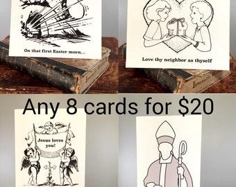 Set Of 8 Funny Religious Birthday Card