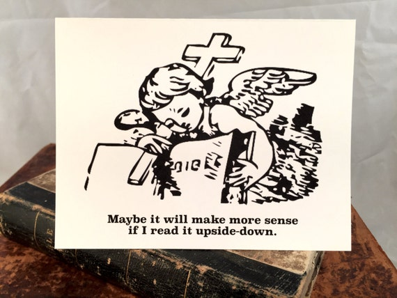 Upside Down Jesus Greeting Card Religious Funny