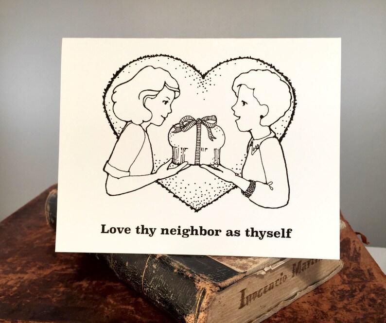 Set Of 8 Funny Religious Birthday Card Love Thy Neighbor