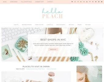 Responsive Wordpress Theme Hello Peach - Genesis Child Theme - Wordpress Template - Wordpress Blog - Blog Design