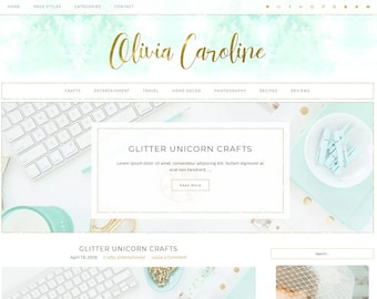 Responsive Wordpress Theme Olivia Caroline - Genesis Child Theme - Wordpress Template - Wordpress Blog - Blog Design - Mint and Gold