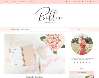 Responsive Wordpress Theme Billie - Genesis Child Theme - Wordpress Template - Wordpress Blog - Blog Design
