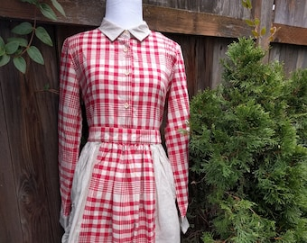 Boho Bohemian Peasant Folk Prairie Women's Vintage Dress-1990s?-Size M-L-White and red checkered dress with huge pockets