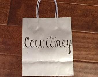 Bridesmaid Gift Bags / Custom Gift Bags / Personalized Gift Bag / Custom Name Gift Bag / Paper Gift Bag / Groomsman Gift Bags / Party Favors