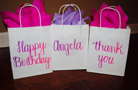 Custom Gift Bag Personalized Gift Bags Happy Birthday Gift Bags Custom Bags Party Favors Custom Gift Hand Lettered Gift Bags