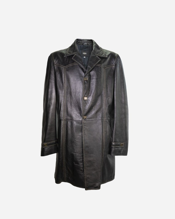VERSACE - Leather trench coat
