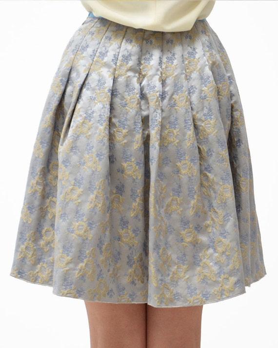 BLUMARINE skirt Florale Blue Marine Azzurra floreal Light Blue Skirt 38 zqwrz76