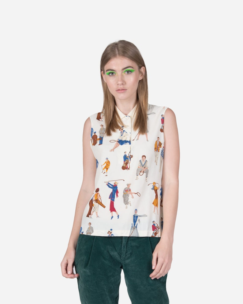 LES COPAINS Sleeveless top with pattern