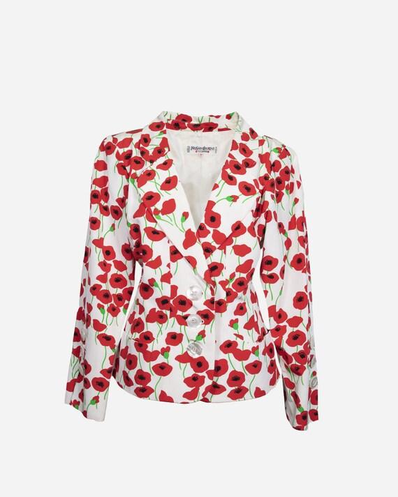 YVES SAINT LAURENT - Red poppies blazer