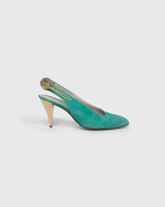 VINTAGE - Velvet green shoes