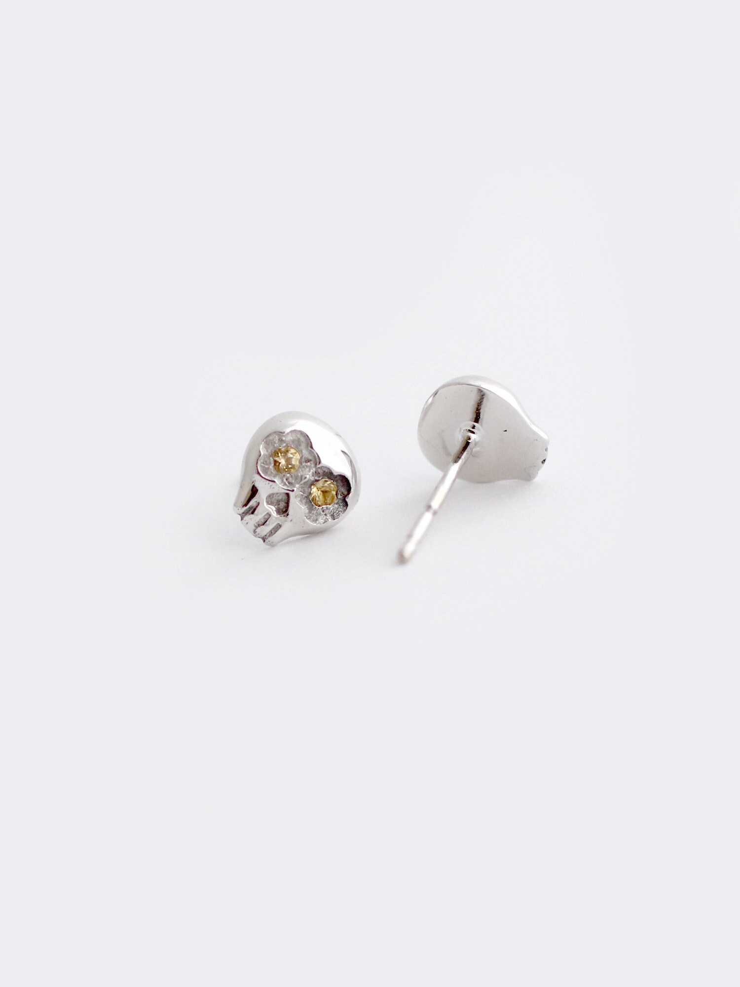 ac76d9e8d White Gold Sugar Skull Stud Earrings With Citrine | Etsy