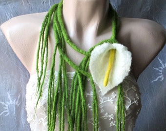 Unique art to wear,Necklace with flower,Felted necklace, calla necklace,Original belt ,Felted flower, calla,Wool flower,Felted lariat