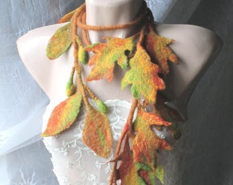 Felt scarf,Felt leaves lariat,Felt belt,Felt scarf with leaves,felted necklace ,Unique art to wear ,Original Belt,Felted scarflette