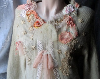 Beautiful Unique Art To Wear , angora cardigan,, bohemian romantic, altered couture, handembroidered ,wedding cardigan,embroidered cardigan