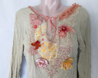 Yellow chrysanthemum,bohemian , reworked,  wearable art, bohemian romantic , altered couture, unique art to wear,hand embroidered