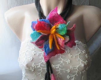 Felt belt,Lariat necklace,Flower lariat,Funky lariat,multicolour, Felted flower, Felted necklace, Felted lariat, Lariat,wearable art