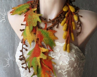 Felt scarf,Felt leaves lariat,Felt belt,Felt scarf with leaves,Wearable art,leaves garland, scarf for fall ,Felt necklace,Felted scarflette