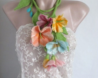 Felt necklace,Felt Lariat , Flower Necklace ,Felted Flower Scarf  ,Wearable Art,Art to wear,Felt belt, Wool flower, Fairy Costume ,pastel