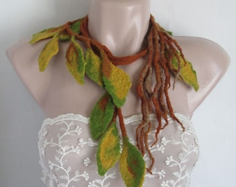 Felted necklace ,Felt leaves lariat,Felt belt,Felted leaves,Wearable art,Felt leaf ,Original Belt,Felted scarflette,Leaves garland