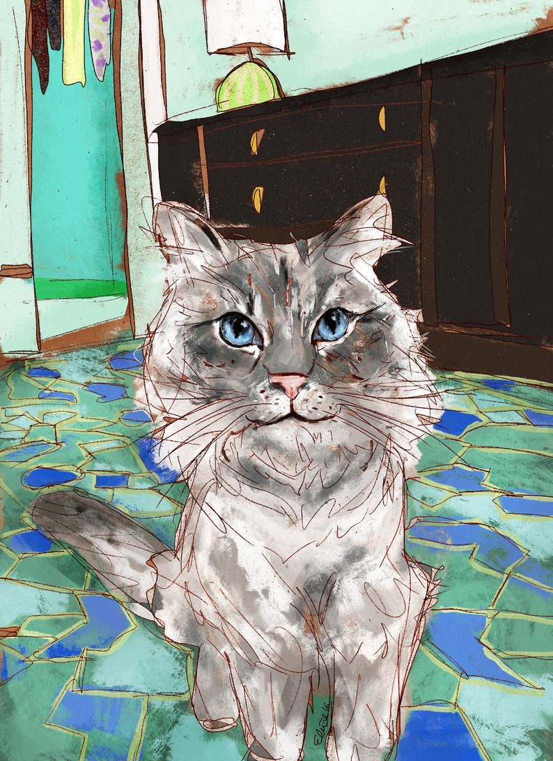 custom portrait kitten illustration for pet loss unique personalized gifts for owner present Cat memorial art commission digital painting