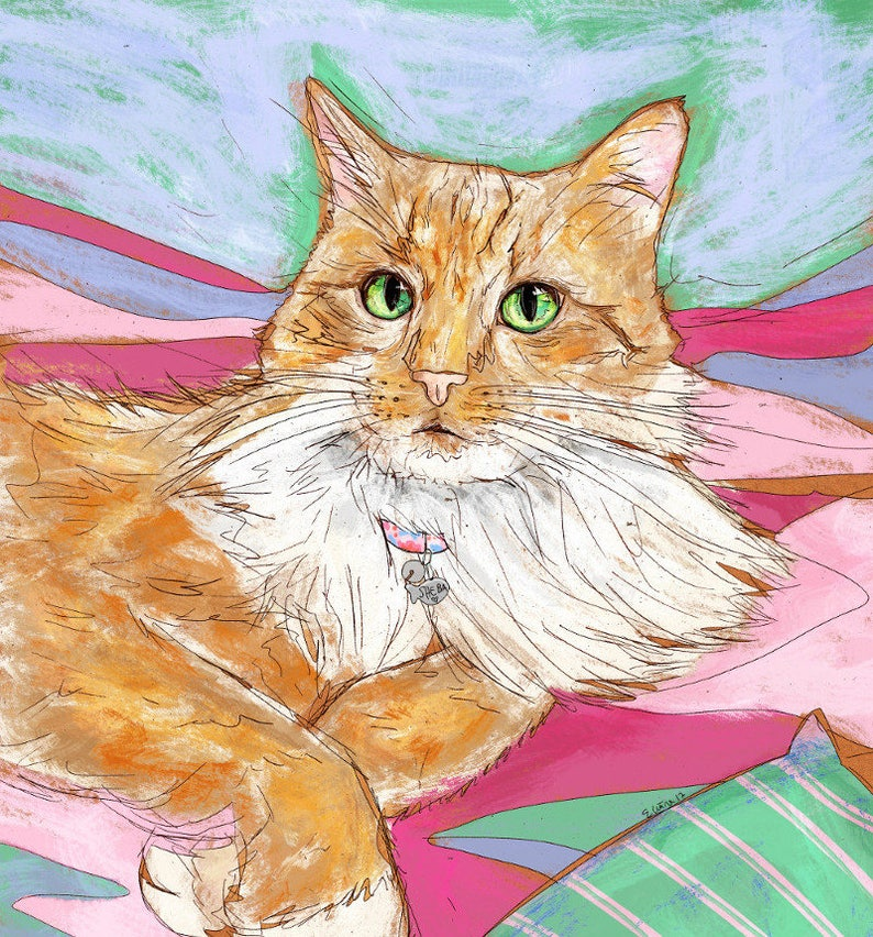 Ritratto Di Gatto Siamese Persiano Rosso Disegno Digitale Etsy