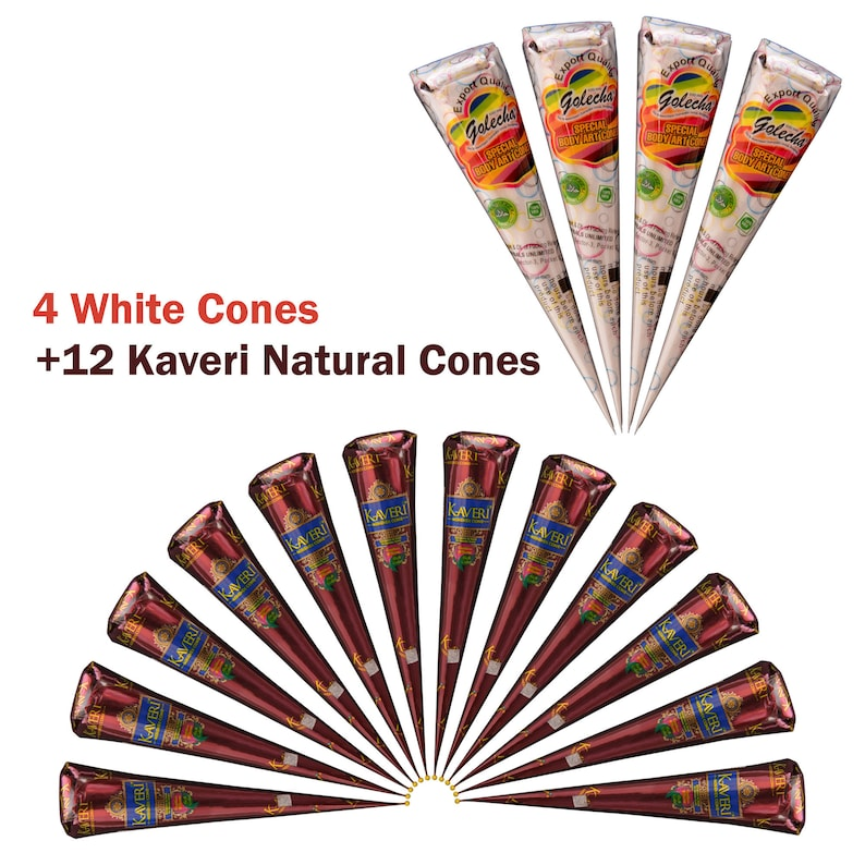 60476b7a9 4 White 12 Natural Henna Cones Kit Temporary Tattoo Herbal | Etsy