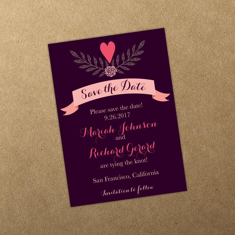 Heart Save the Date Deep Purple Pink