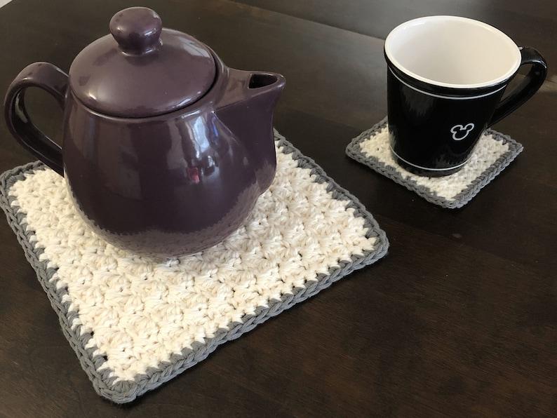 Mug Rug Crochet Hot pad Crochet Coaster Crochet Trivet Tea Cozy Teapot Trivet Crochet Pattern Farmhouse Trivet and Coaster Set