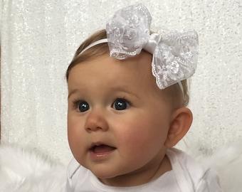 White Lace Baby Bow, White Baby Headband, White Baby Bow, Baby Hair Bows, Baby Hair Accessories, Baby Bows, Lace Baby Headbands
