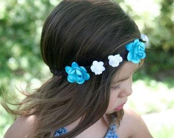 Braided Flower Crown, Baby Girl Flower Crown, Flower Girl Crown, Blue and White Flower Crown, Flower Halo