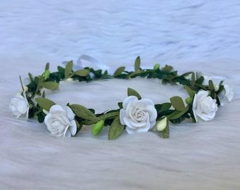 White Flower Crown, Flower Girl Crown, Flower Halo, White Flower Girl Crown, White Flower Halo