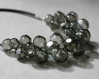 Glass ice necklace - hand blown grey glass - rubber cord - smoky ice - faceted glass - hollow and lightweight
