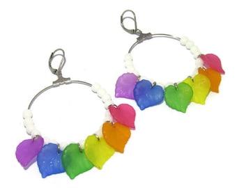 Rainbow hoop earrings / hoops colored leaf and Pearl white beads, stainless sleeper