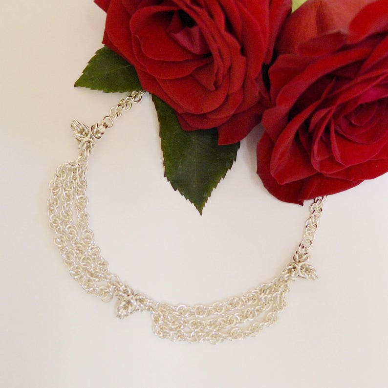 Birthday Anniversary Chain Maille Necklace Sterling Silver Triple-Point Byzantine Necklace Wedding Mother/'s Day Christmas Valentines