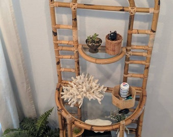 Rattan Hall Tree Entry Shelf Front Door Caddy Wicker Shelving Unit Bookshelf Plant Boho Storage