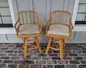 VIntage bar stools, Swivel stools, Boho bar stools, Bamboo barstools. Rattan stools, Wood chairs, Coastal furniture, Lake decor, Wicker